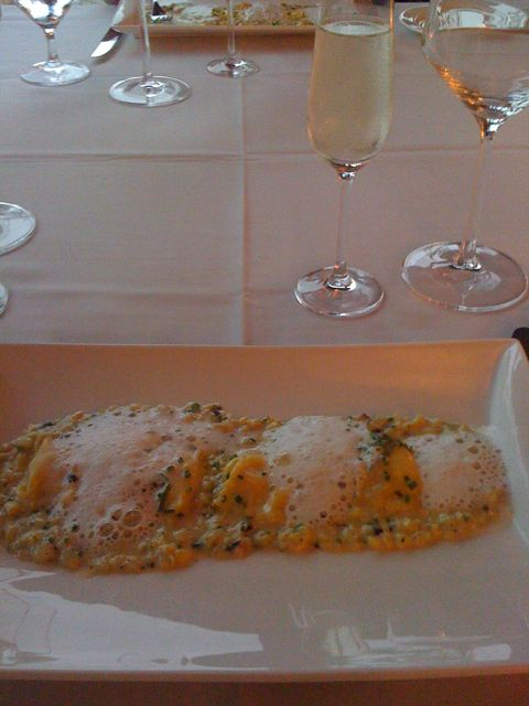 First Course: Angnolotti with Corn Mash, Mascarpone foam, and God only knows what else.